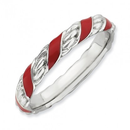 Red Spiral Enameled Sterling Silver Stackable Expressions Ring