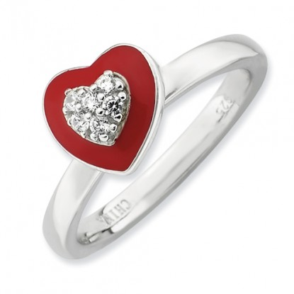 Enameled CZ Heart Sterling Silver Stackable Expressions Ring