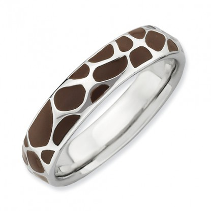 Brown Enameled Leopard Spot Sterling Silver Stackable Expressions Ring