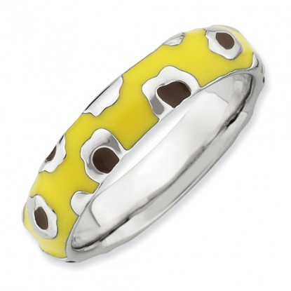 Brown Spotted Yellow Enameled Sterling Silver Stackable Expressions Ring