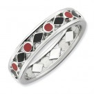 Black Diamonds Red Dots Enameled Sterling Silver Stackable Expressions Ring