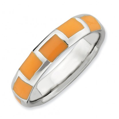 Orange Squares Enameled Sterling Silver Stackable Expressions Ring