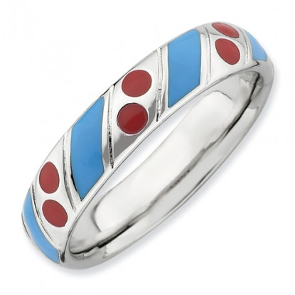 Blue Band Red Dots Enameled Sterling Silver Stackable Expressions Ring