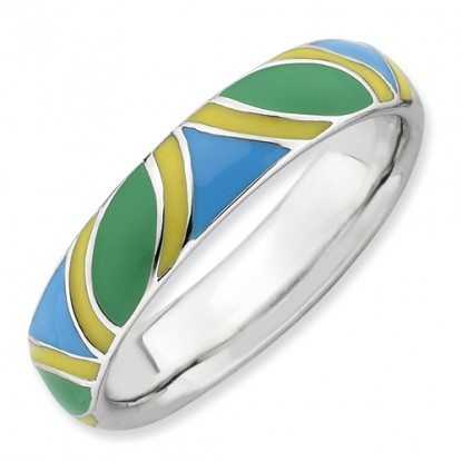Retro Multi-Color Enameled Sterling Silver Stackable Expressions Ring