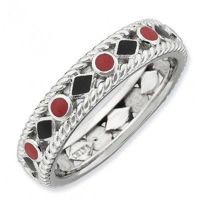 Rope Twist Diamonds n Dots Enameled Sterling Silver Stackable Expressions Ring