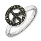 Marcasite Peace Sign Sterling Silver Stackable Expressions Ring