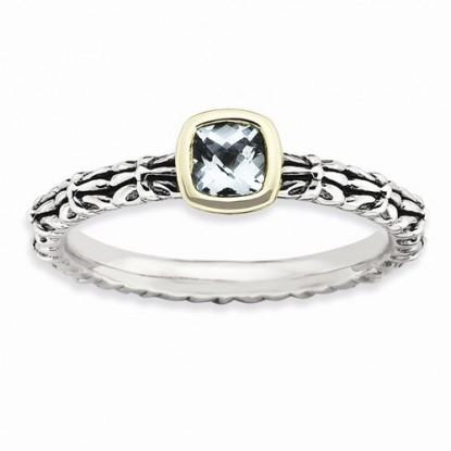 Checker-Cut Aquamarine Sterling Silver 14k Stackable Expressions Ring