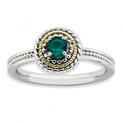 Round Sterling Silver & 14k Gold Stackable Expressions Emerald Ring