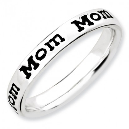 Mom Enameled Sterling Silver Stackable Expressions Ring