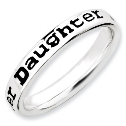 Daughter Enameled Sterling Silver Stackable Expressions Ring