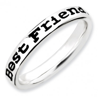 Enameled Stackable Expressions Sterling Silver Best Friends Ring