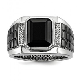 Sterling Silver Men's Black Onyx and Diamond Ring